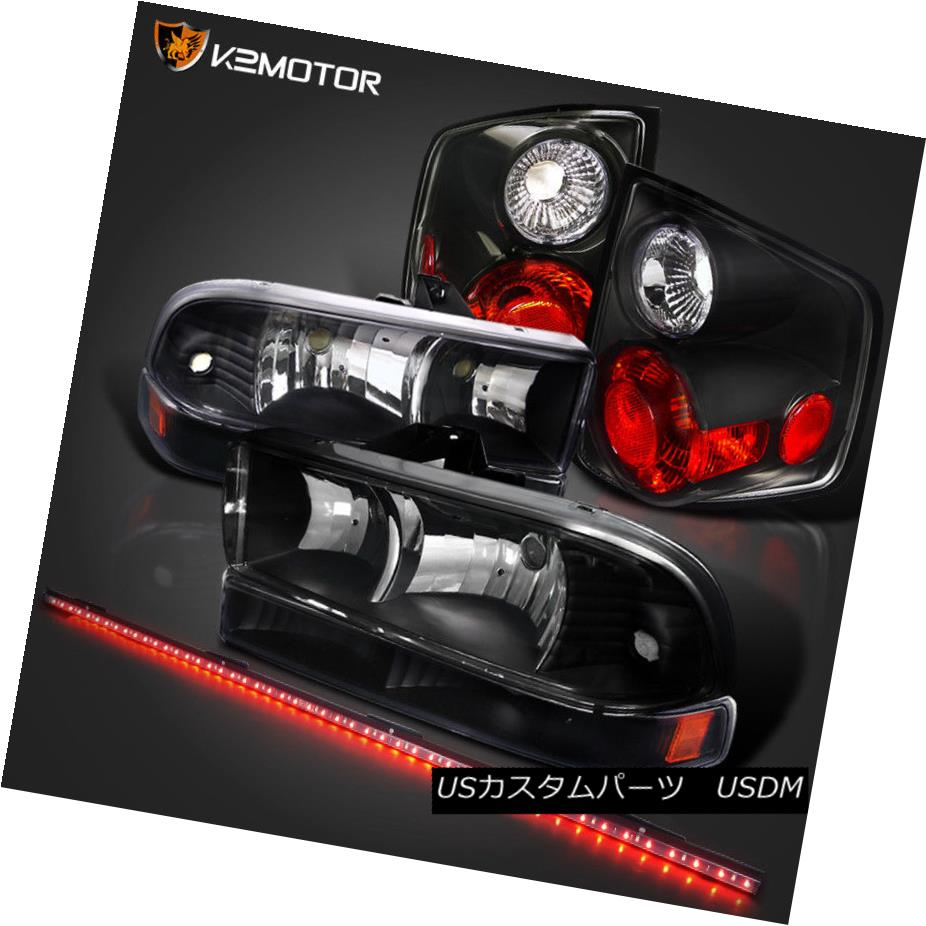 ヘッドライト 98-04 S10 Crystal Black Headlights+Bumper Lamps+Tail Lights+49