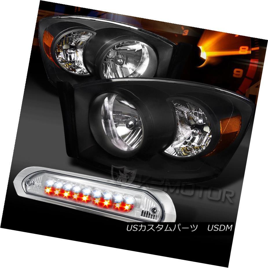 ヘッドライト 06-08 Ram 1500/2500/3500 Black Headlights+Clear LED 3rd Brake Lamp 06-08 Ram 1500/2500/3500ブラックヘッドライト+ Cle  ar LED第3ブレーキランプ