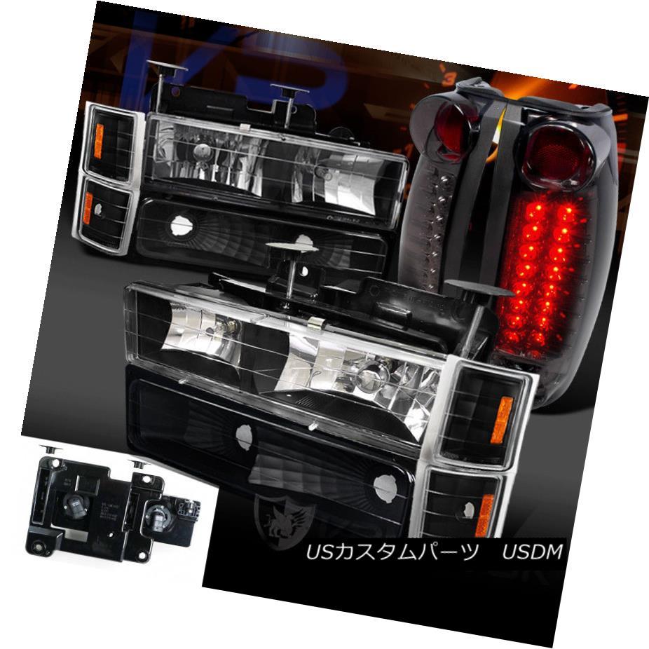 ヘッドライト 94-98 Chevy C/K Tahoe Black Headlight Bumper Corner Lamps+Smoke LED Tail Lights 94-98シボレーC / Kタホブラックヘッドライトバンパーコーナーランプ+スモークLEDテールライト