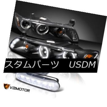 ヘッドライト JDM Black 97-03 Grand Prix LED Halo Projector Headlights+Bumper Fog DRL Lamp JDMブラック97-03グランプリLEDハロープロジェクターヘッドライト+ブーム per Fog DRLランプ