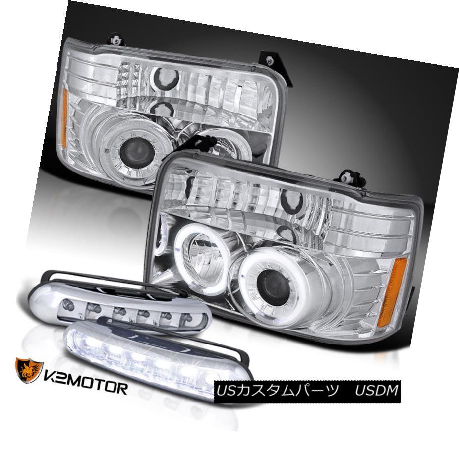 ヘッドライト Ford 92-96 Bronco F150 Halo Chrome Projector Headlights+Bumper LED Fog フォード92-96ブロンコF150ハロークロームプロジェクターヘッドライト+ブーム LEDフォグ当たり