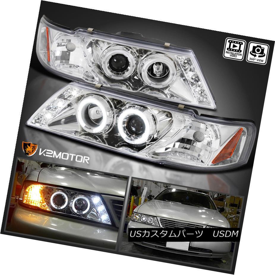 ヘッドライト Halo LED Chrome Projector Headlights Pair For 1995-1999 Nissan Sentra 1995-1999 Nissan Sentra用Halo LED Chromeプロジェクターヘッドライトペア