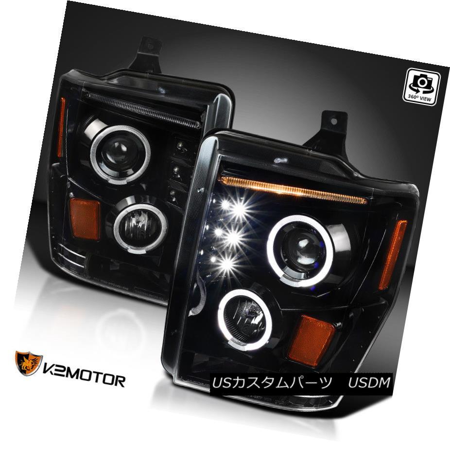 ヘッドライト [Jet Black] 2008-2010 F250 F350 F450 SuperDuty LED DRL Projector Headlights Pair [ジェットブラック] 2008-2010 F250 F350 F450 SuperDuty LED DRLプロジェクターヘッドライトペア