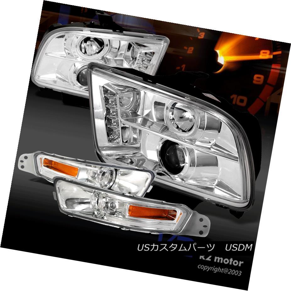 ヘッドライト Chrome 2005-2009 Mustang LED Halo Projector Headlights+Clear Bumper Park Lamp Chrome 2005-2009 Mustang LEDハロープロジェクターヘッドライト+ Cle  arバンパーパークランプ