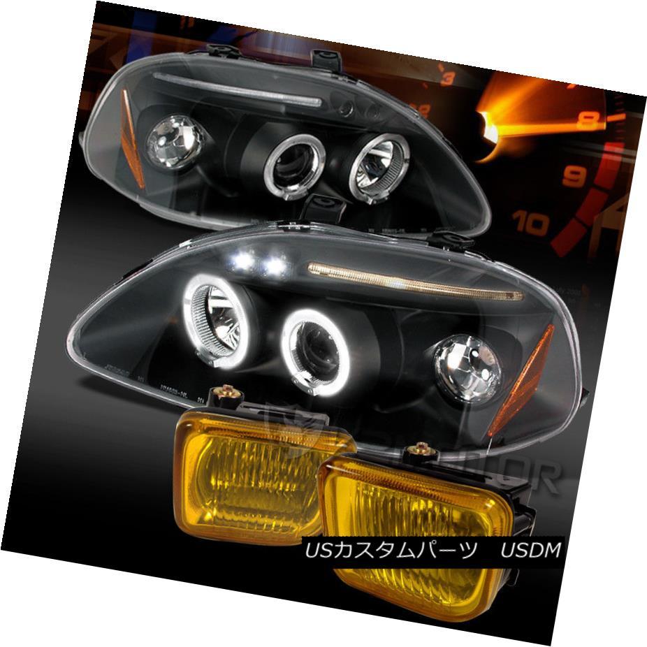 ヘッドライト Fit 96-98 Black Halo LED Projector Headlights+Yellow Bumper Fog Lamps 96-98 Black Halo LEDプロジェクターヘッドライト+ Yel 低バンパーフォグランプに適合