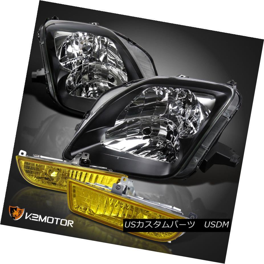 ヘッドライト For 97-01 Honda Prelude Black Headlights Pair +JDM Yellow Fog Lights w/ Switch 97-01ホンダプレリュードブラックヘッドライトペア+ JDMイエローフォグライト(スイッチ付)