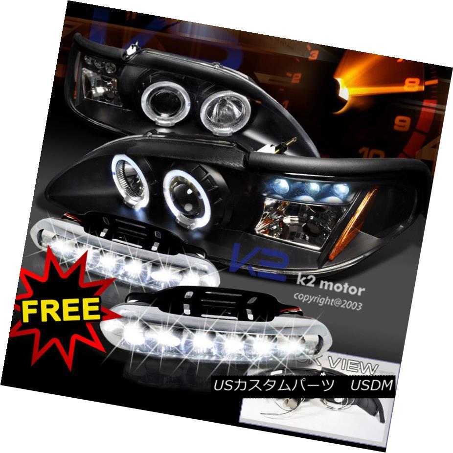 ヘッドライト 94-98 Mustang Halo Projector Headlight Signal Black+LED DRL Fog Lamps 94-98 Mustang Haloプロジェクターヘッドライト信号ブラック+ LED DRLフォグランプ