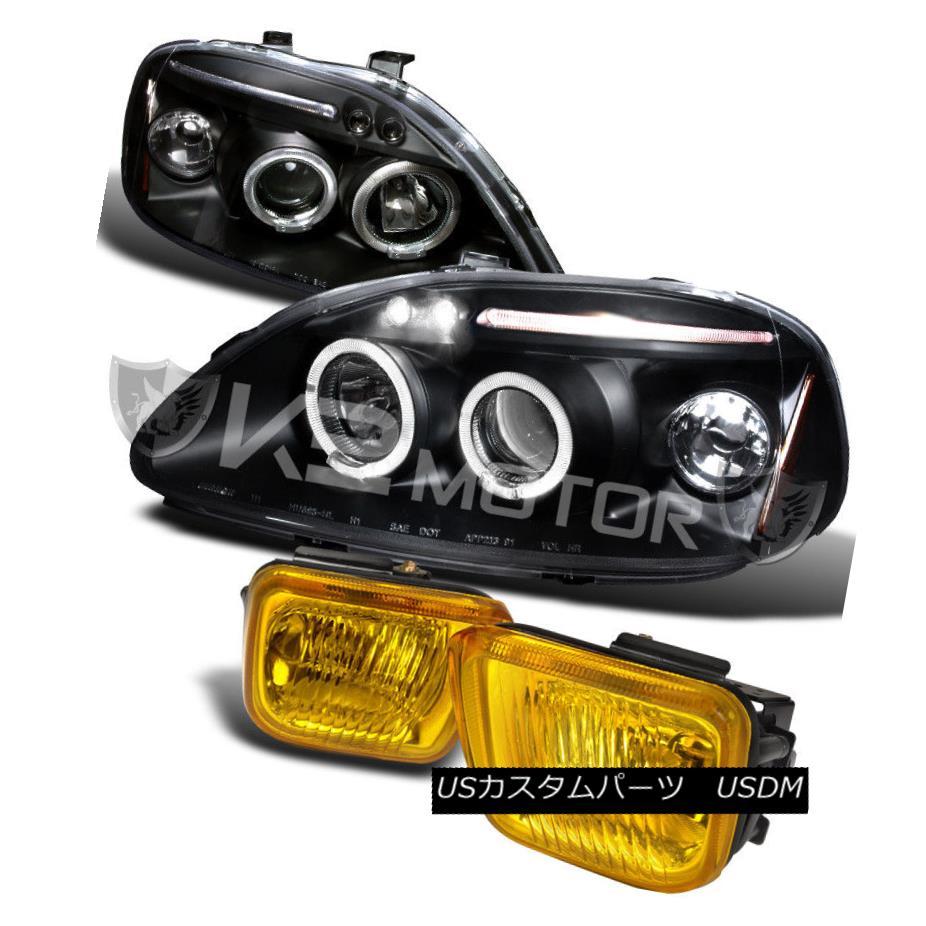 ヘッドライト JDM Fit 96-98 Civic Black Halo LED Projector Headlights+Yellow Fog Lamp Switch JDMフィット96-98シビックブラックハローLEDプロジェクターヘッドライト+イエロー 低フォグランプスイッチ