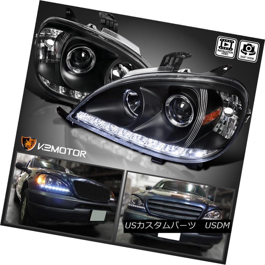 ヘッドライト 98-01 Mercedes Benz W163 ML ML320 ML430 LED DRL Strip Black Projector Headlights 98-01メルセデスベンツW163 ML ML320 ML430 LED DRLストリップブラックプロジェクターヘッドライト