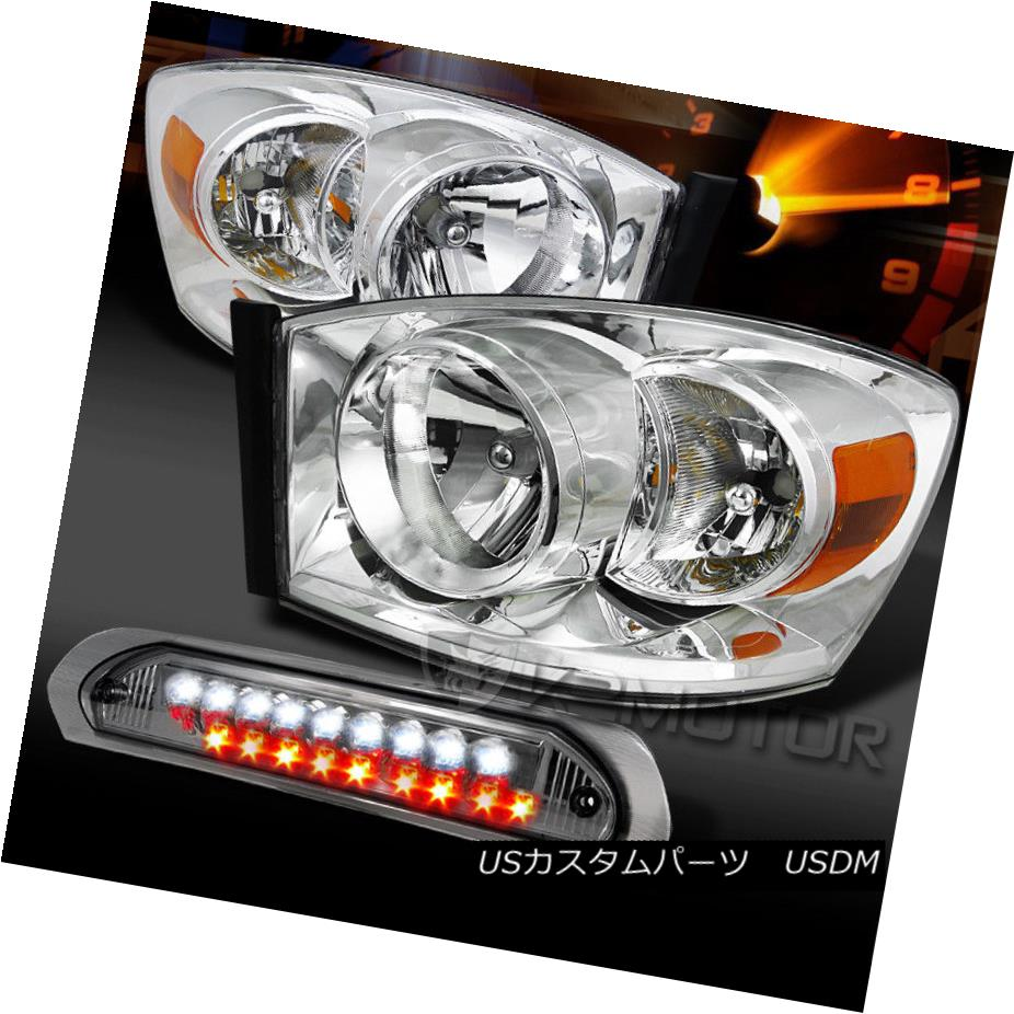 ヘッドライト 06-08 Ram 1500/2500/3500 Chrome Headlights+Smoke LED 3rd Brake Lamp 06-08 Ram 1500/2500/3500 Chromeヘッドライト+スモーキー ke LED第3ブレーキランプ