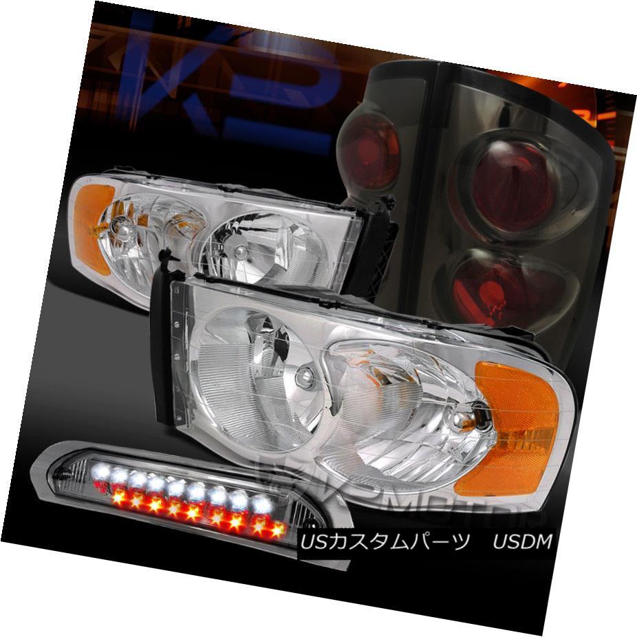 ヘッドライト 02-05 Ram 1500/2500 Chrome Headlights+Smoke Tail Lamps+LED 3rd Brake 02-05 Ram 1500/2500クロームヘッドライト+スモーク keテールランプ+ LED第3ブレーキ