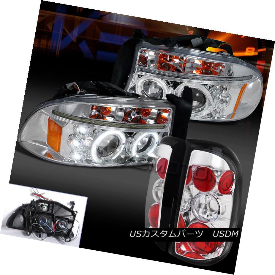 ヘッドライト 97-04 Dodge Dakota Chrome Dual Halo LED Projector Headlight+Clear Rear Tail Lamp 97-04ダッジダコタクロムデュアルハローLEDプロジェクターヘッドライト+クリーナー rリアテールランプ