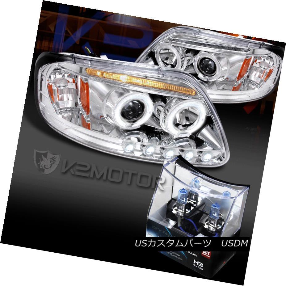 ヘッドライト 97-03 Ford F150 Chrome LED Halo Projector Headlights+H3 Halogen Bulbs 97-03 Ford F150 Chrome LEDハロープロジェクターヘッドライト+ H3ハロゲン電球