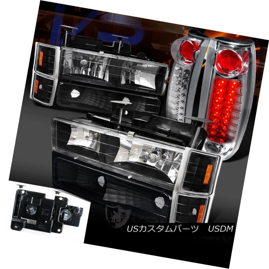 ヘッドライト 94-98 Chevy C/K Tahoe Black Headlight Bumper Corner Lamps+Clear LED Tail Lights 94-98シボレーC / Kタホブラックヘッドライトバンパーコーナーランプ+クリアLEDテールライト