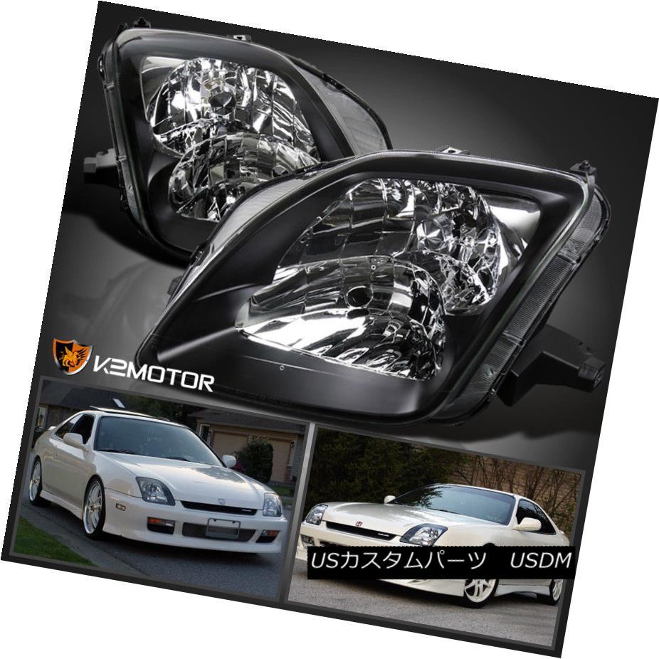 ヘッドライト For 1997-2001 Honda Prelude Black Clear Bezel Headlights Replacement Left+Right 1997-2001ホンダプレリュードブラッククリアベゼルヘッドライト交換左+右
