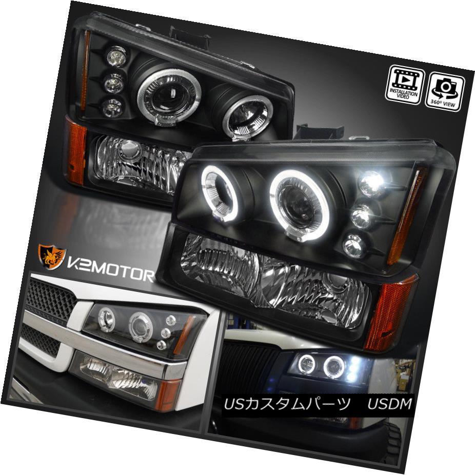 ヘッドライト 2003-2006 Chevy Silverado Halo LED Projector Headlights Black+Bumper Signal Lamp 2003-2006 Chevy Silverado Halo LEDプロジェクターヘッドライトブラック+バンパーシグナルランプ