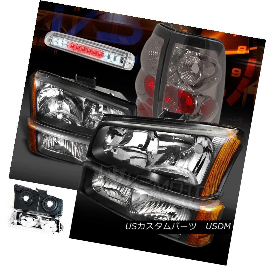 ヘッドライト 03-06 Silverado 1500 Black Headlights Bumper Lamps+Smoke Tail Lamp LED 3rd Brake 03-06 Silverado 1500ブラックヘッドライトバンパーランプ+煙テールランプLED第3ブレーキ