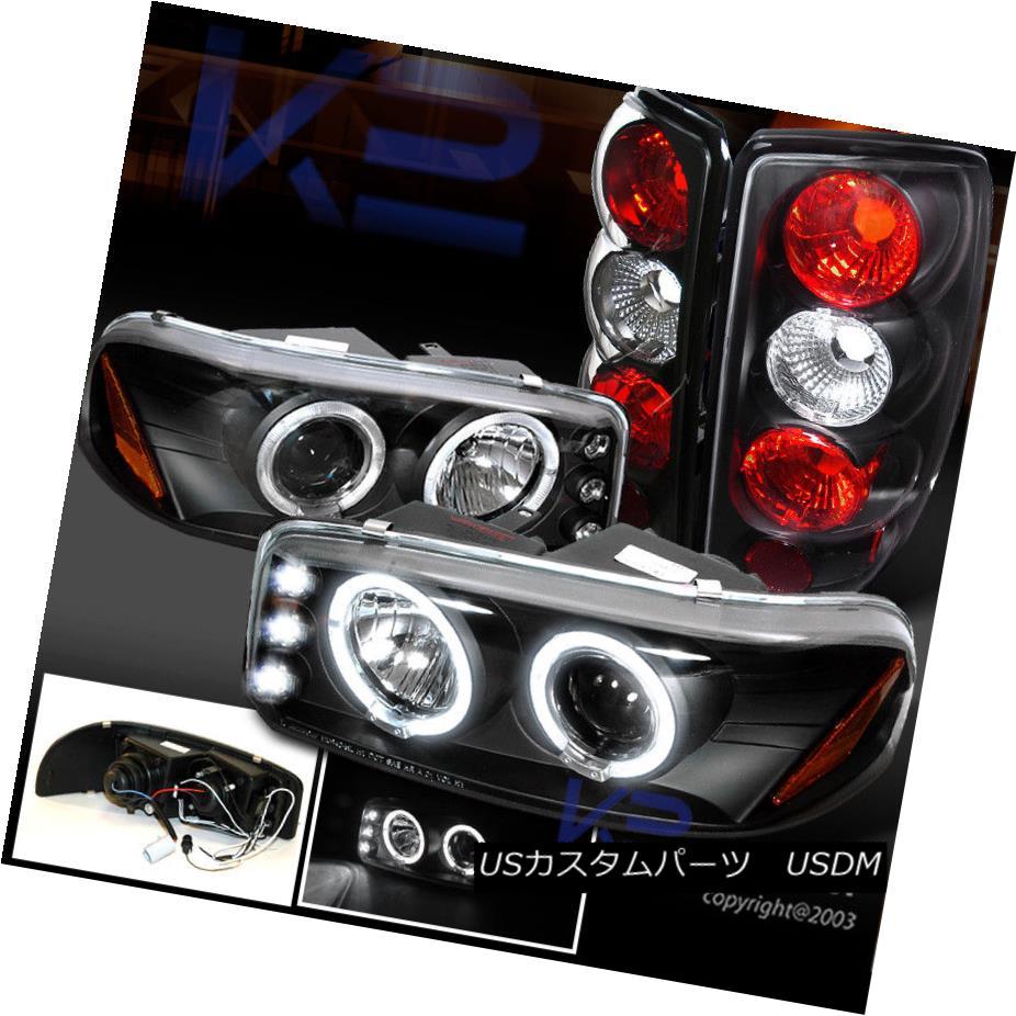 ヘッドライト GMC 00-06 Yukon/Denali JDM Black Halo Projector LED Headlights+Tail Lamps GMC 00-06ユーコン/デナリJDMブラックハロープロジェクターLEDヘッドライト+タイ lランプ