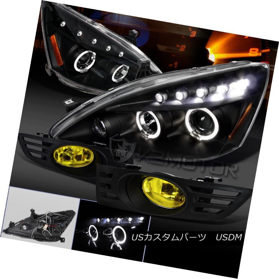ヘッドライト Fit 03-05 Accord 2Dr Coupe Black Projector Headlights+Yellow Fog Lights フィット03-05 Accord 2Dr Coupeブラックプロジェクターヘッドライト+イエロー 低フォグライト