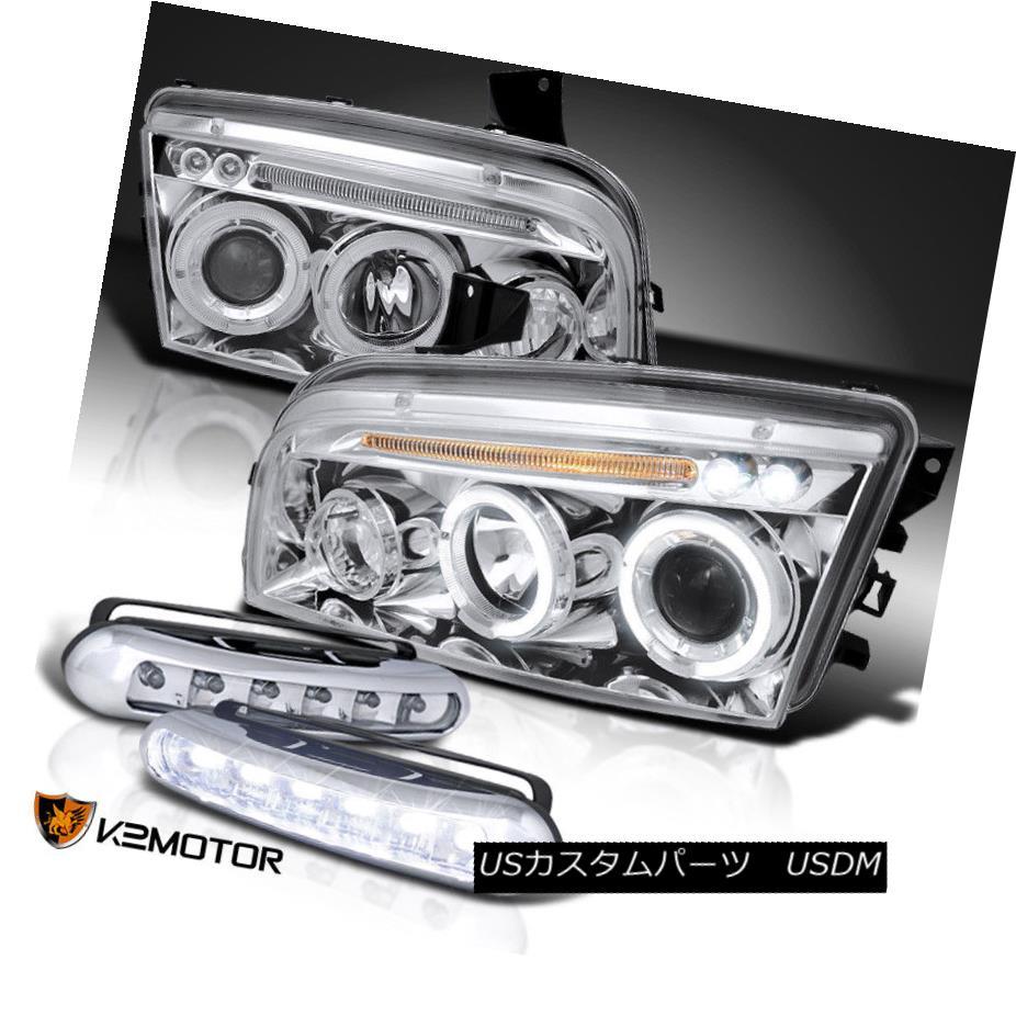 ヘッドライト 06-10 Charger Chrome LED Halo Projector Headlights+LED Daytime Running Fog Lamps 06-10チャージャークロームLEDハロープロジェクターヘッドライト+ LEDデイタイムランニングフォグランプ