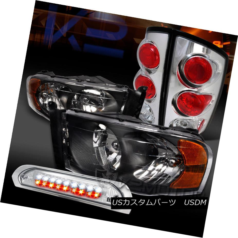 ヘッドライト 02-05 Dodge Ram Black Headlights+Clear Tail Lamps+LED 3rd Brake Light 02-05 Dodge Ramブラックヘッドライト+ Cle  arテールランプ+ LED 3rdブレーキライト