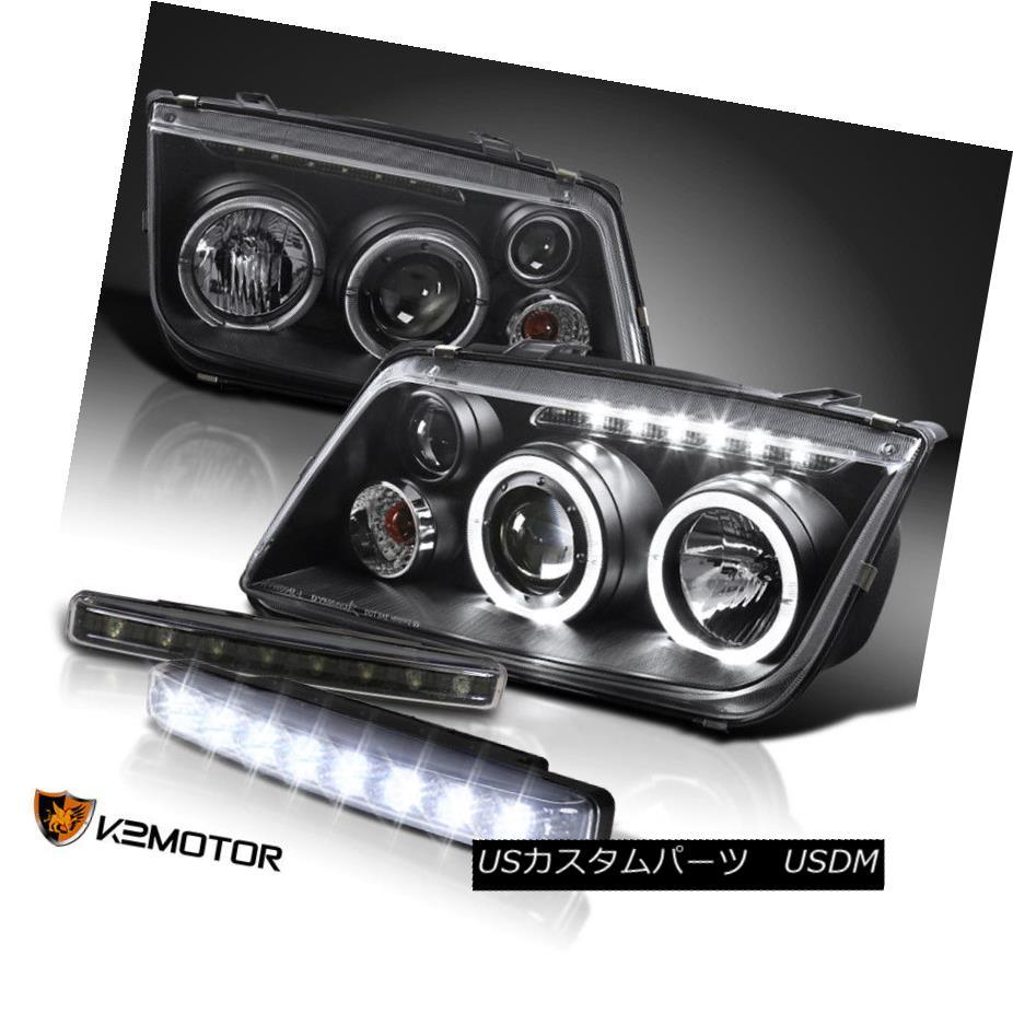 ヘッドライト For 99-04 VW Jetta Bora Black Twin Halo Projector Headlight+8-LED DRL Fog Lights 99-04 VWジェッタボラブラックツインハロープロジェクターヘッドライト+ 8-LE D DRLフォグライト