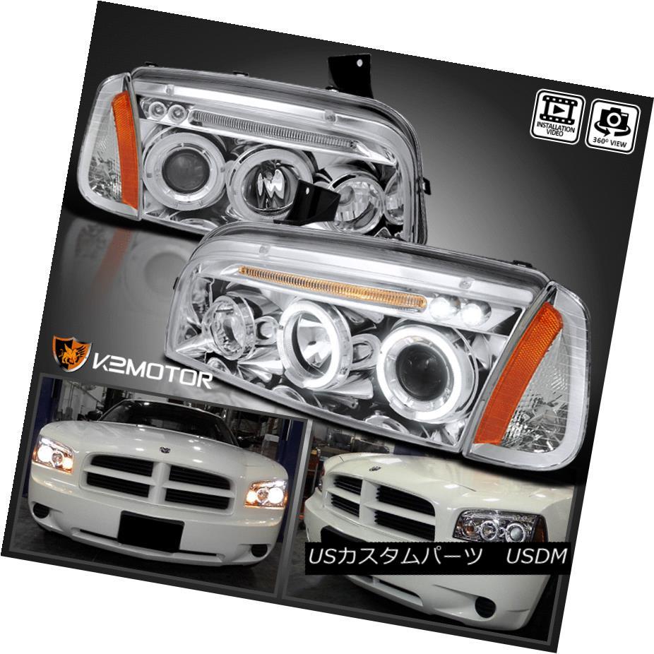 ヘッドライト 06-10 Dodge Charger Chrome Halo Projector Headlights+Corner Signal Lamp 06-10ダッジ・チャージャー・クローム・ハロー・プロジェクター・ヘッドライト+ Cor  ner信号ランプ