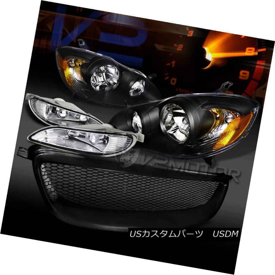 ヘッドライト For 05-08 Toyota Corolla Black Headlights+Mesh Grille+Clear Fog Lamps w/ Switch 05-08トヨタカローラブラックヘッドライト+メス hグリル+クリアフォグランプ(スイッチ付)