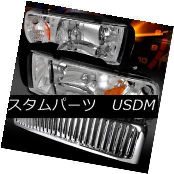 ヘッドライト Dodge 94-01 Ram 1500 Chrome LED DRL Headlights+Chrome Vertical Grille ドッジ94-01ラム1500クロームLED DRLヘッドライト+ Chr  ome Vertical Grille