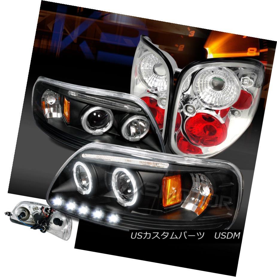 ヘッドライト 97-00 F150 Flareside Black Halo LED Projector Headlights+Clear Rear Tail Lamps 97-00 F150 Flareside Black Halo LEDプロジェクターヘッドライト+ Cle  arリアテールランプ