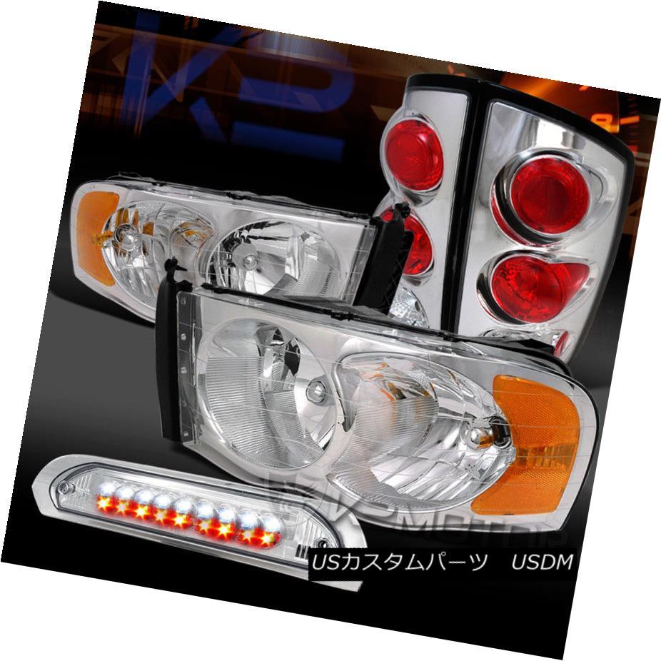 ヘッドライト 02-05 Ram 1500/2500 Chrome Headlights+Clear Tail Lamps+LED 3rd Brake 02-05 Ram 1500/2500クロームヘッドライト+ Cle  arテールランプ+ LED 3rdブレーキ