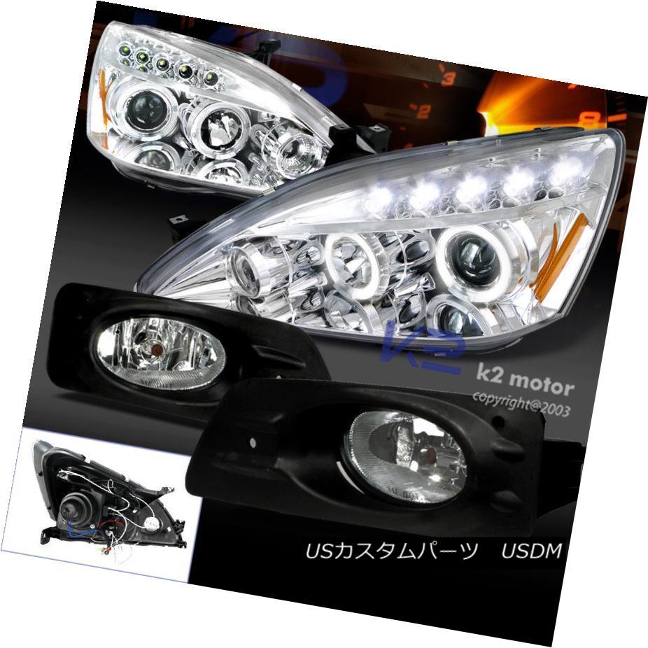 ヘッドライト For 06-07 Accord 4Dr Halo Projector Headlights Chrome+Fog Bumper Lamps Clear 06-07 Accord 4Dr Haloプロジェクターヘッドライトクローム+フォグバンパーランプクリア