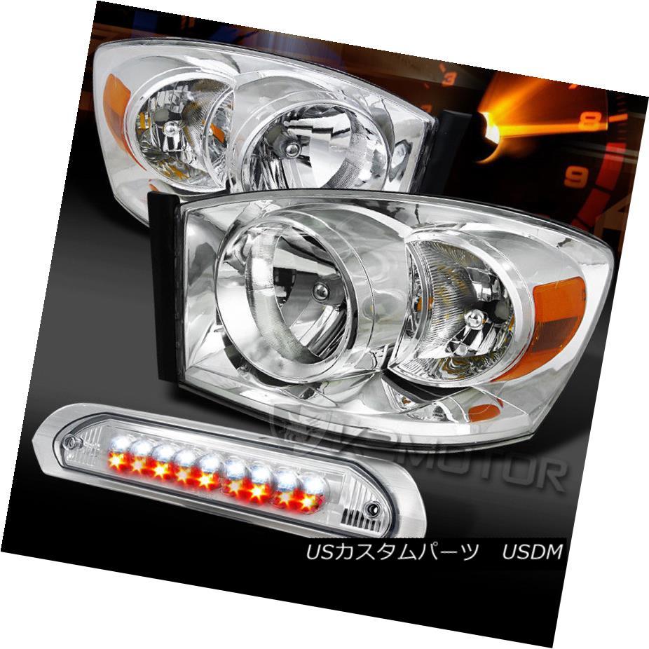 ヘッドライト 06-08 Ram 1500/2500/3500 Chrome Headlights+Clear LED 3rd Brake Lamp 06-08 Ram 1500/2500/3500 Chromeヘッドライト+ Cle  ar LED第3ブレーキランプ