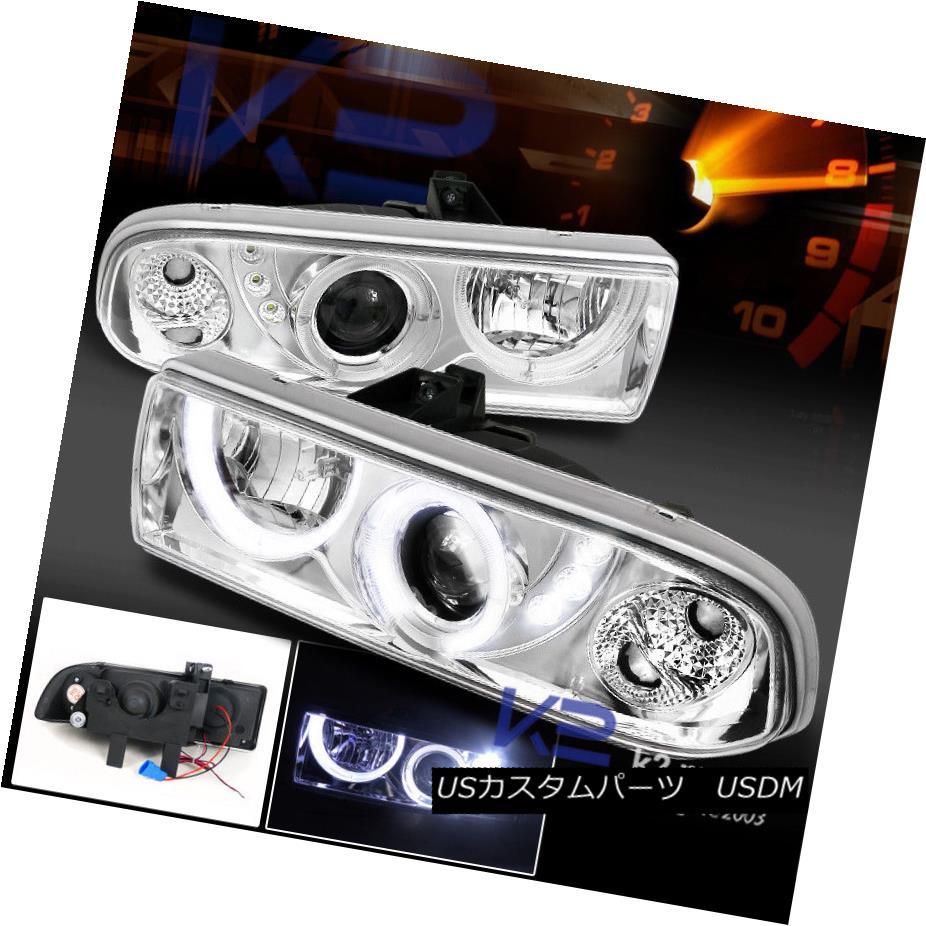 ヘッドライト 98-04 Chevy S10 Pickup Blazer Dual Halo Projector Headlights Chrome 98-04 Chevy S10ピックアップブレザーデュアルハロープロジェクターヘッドライトクローム