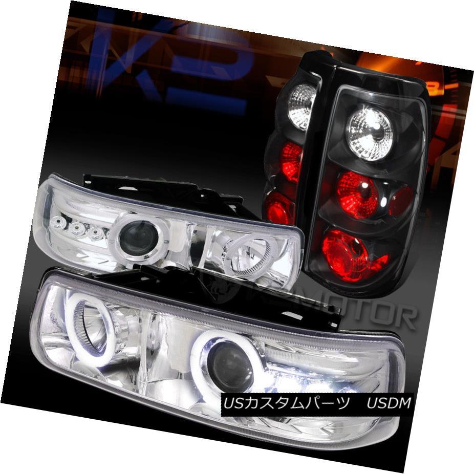 ヘッドライト 99-02 Silverado Chrome Halo LED Projector Headlights+Black Tail Brake Lamps 99-02 Silverado Chrome Halo LEDプロジェクターヘッドライト+ Bla  ckテールブレーキランプ