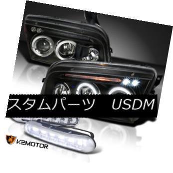 ヘッドライト 06-10 Dodge Charger Projector Headlights Black+LED Driving Fog Lamps 06-10ダッジチャージャプロジェクタヘッドライトブラック+ LED駆動フォグランプ