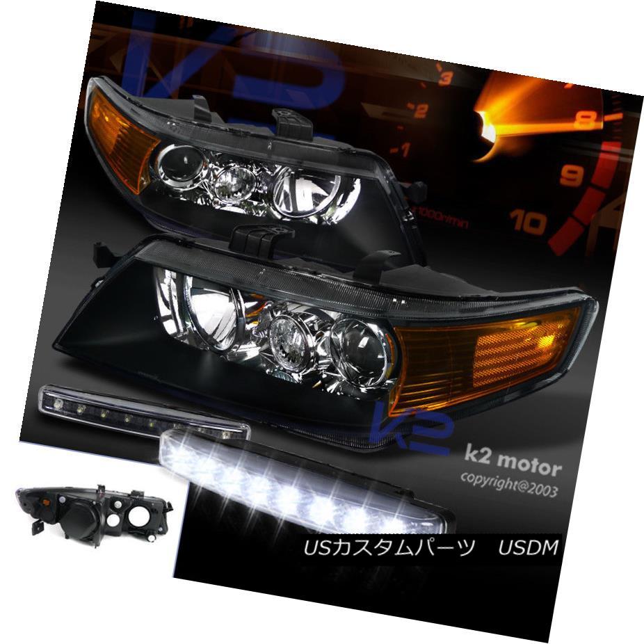 ヘッドライト 04-05 Acura TSX Projector Headlights Black Housing Clear Lens+8 LED Fog Lights 04-05アキュラTSXプロジェクターヘッドライトブラックハウジングクリアレンズ+ 8 LEDフォグライト