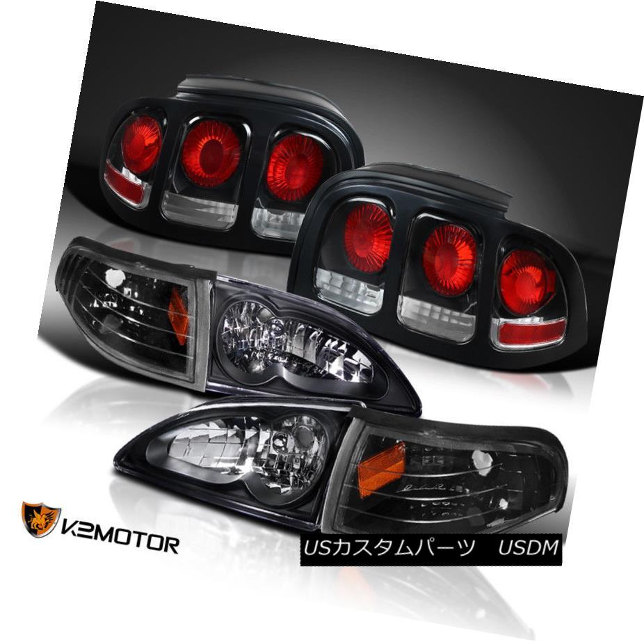 ヘッドライト Black 94-98 Mustang GT Headlights w/Corner Lamps+Rear Brake Lamps Tail Lights ブラック94-98 Mustang GTヘッドライト(コーナーランプ+リアブレーキランプテールライト付き)