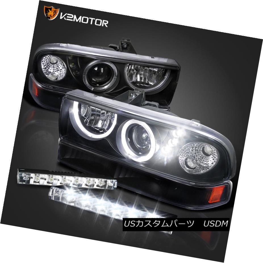 ヘッドライト BLACK 98-04 S10 BLAZER HALO PROJECTOR LED HEADLIGHTS+6-SMD FOG DRL BUMPER LAMPS BLACK 98-04 S10ブレイザーハロープロジェクターLEDヘッドライト+ 6-S  MD FOG DRLバンパーランプ