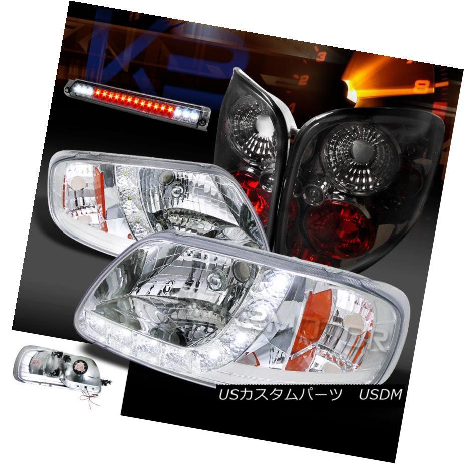 ヘッドライト 97-00 F150 Chrome SMD LED DRL Headlights+Smoke Tail Lamps+LED 3rd Brake Light 97-00 F150クロムSMD LED DRLヘッドライト+スモール keテールランプ+ LED第3ブレーキライト