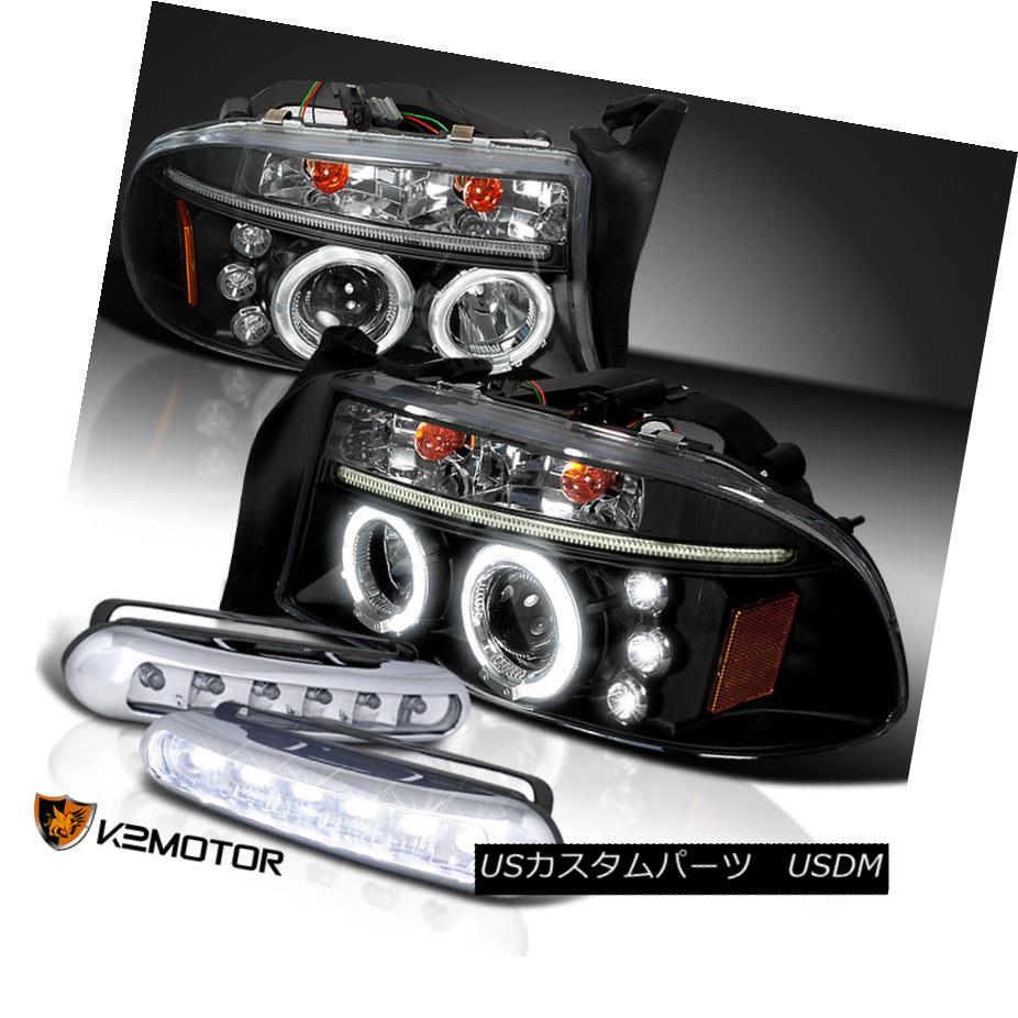 ヘッドライト 98-03 Dodge Durango Halo DRL Projector Black Headlights+LED Fog Lamps 98-03 Dodge Durango Halo DRLプロジェクターブラックヘッドライト+ LEDフォグランプ