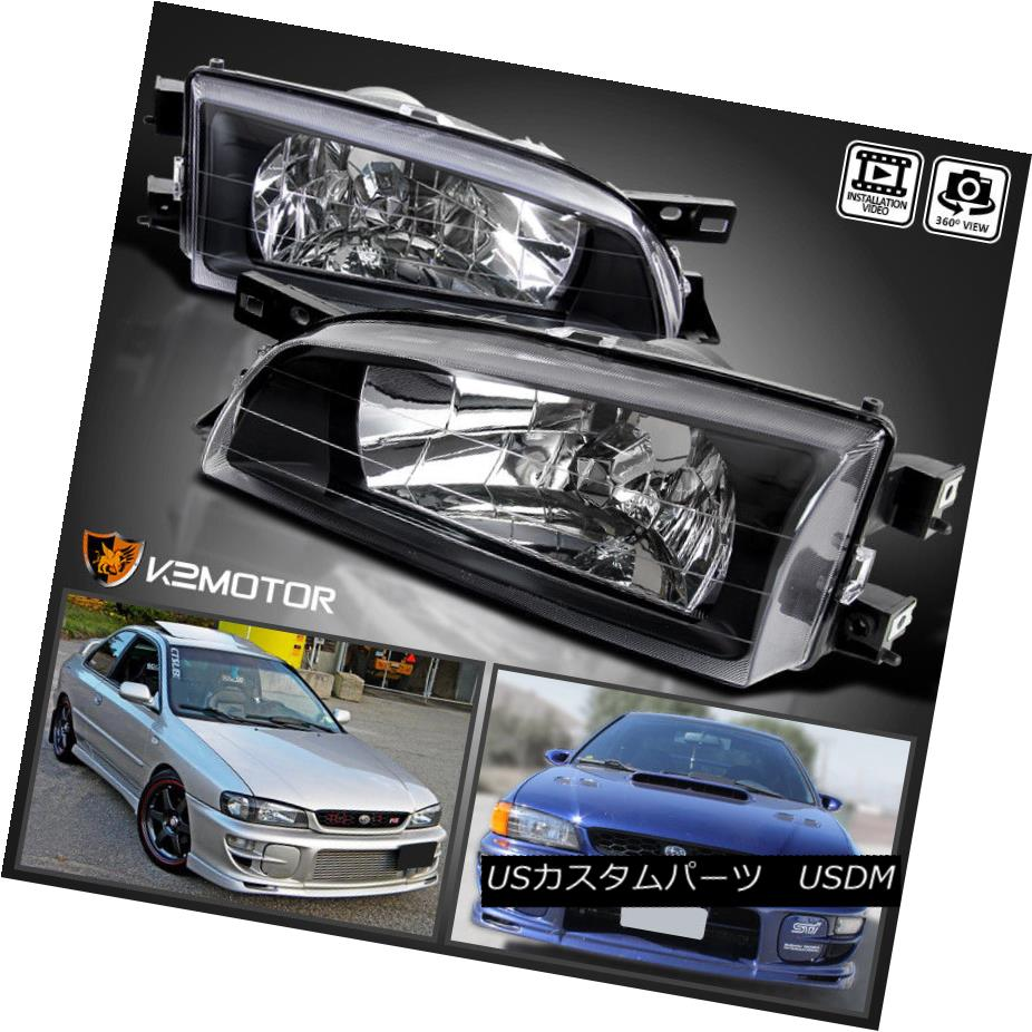 ヘッドライト For 1995-2001 Subaru Impreza JDM Crystal Black Clear Headlights Head Lamps Pair 1995?2001年スバルインプレッサJDMクリスタルブラッククリアヘッドライトヘッドランプペア