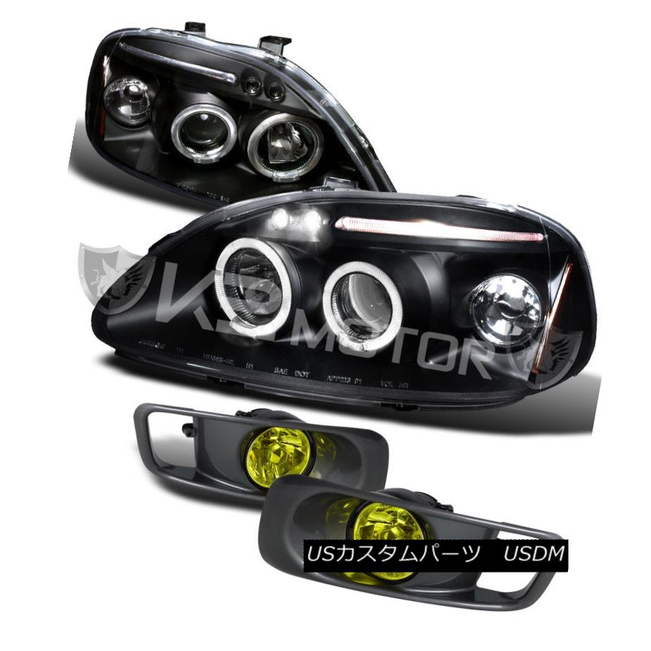 ヘッドライト For 99-00 Honda Civic Black Halo Projector Headlights+Yellow Fog Bumper Lamp 99-00ホンダシビックブラックハロープロジェクターヘッドライト+イエロー 低霧バンパーランプ