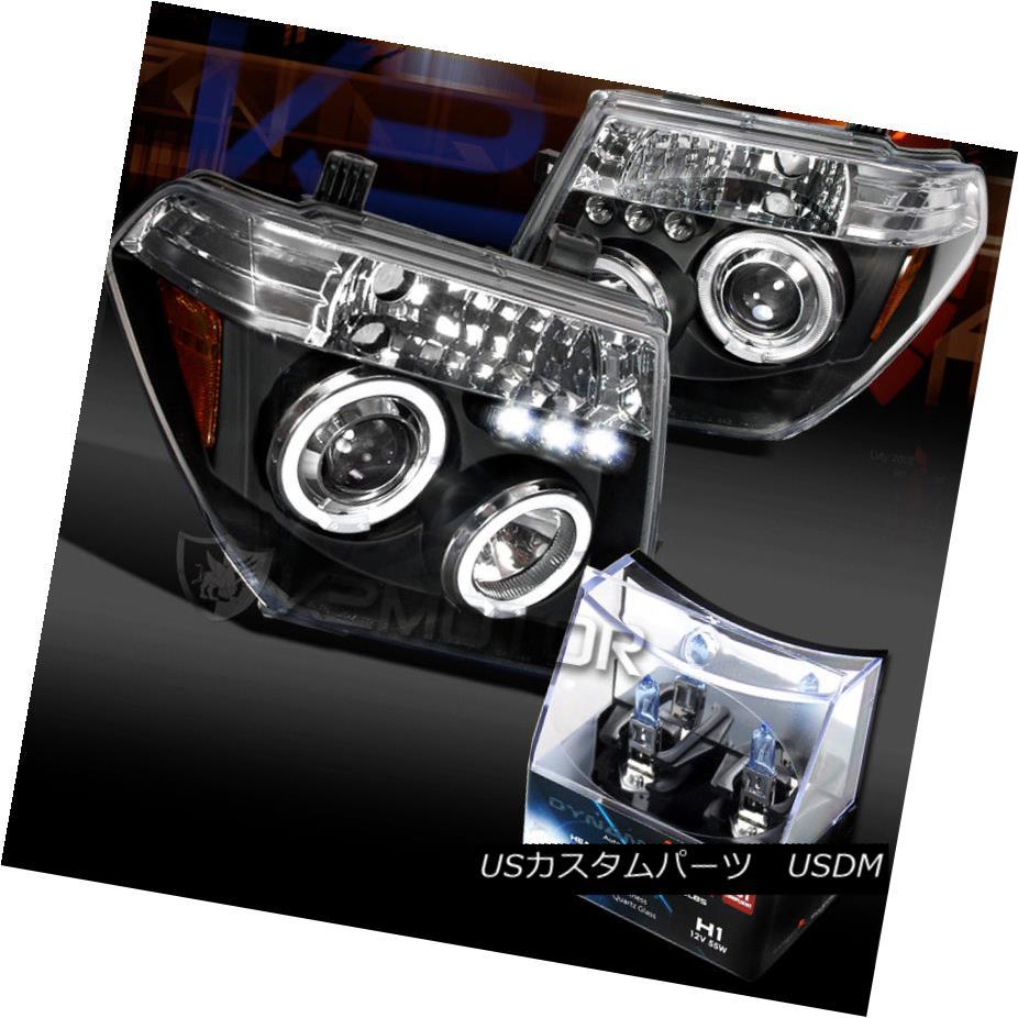 ヘッドライト Fit 05-08 Frontier Black Halo LED Projector Headlights+H1 Halogen Bulbs フィット05-08フロンティアブラックハローLEDプロジェクターヘッドライト+ H1ハロゲン電球