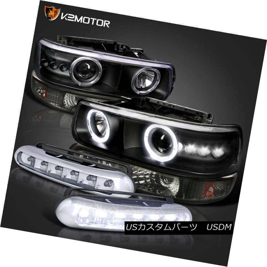 ヘッドライト 99-06 Silverado Black Halo Projector Headlights+Smoke Bumper+LED DRL Fog Lamp 99-06 Silverado Black Haloプロジェクターヘッドライト+ Smo  keバンパー+ LED DRLフォグランプ