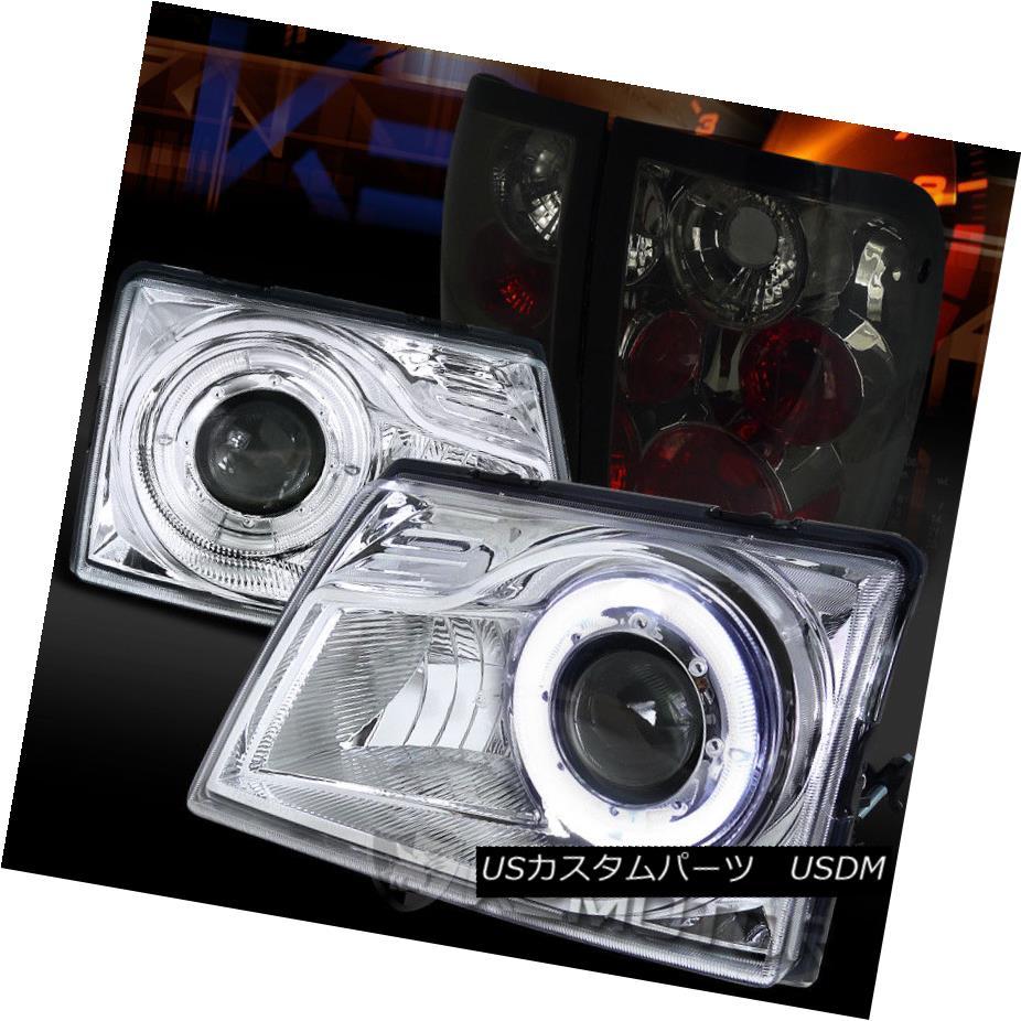 ヘッドライト 98-00 Ford Ranger Chrome Halo Projector Headlights+Smoke Tail Lamps 98-00 Ford Rangerクロームハロープロジェクターヘッドライト+スモーキー keテールランプ