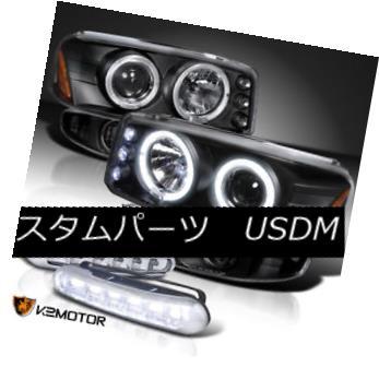 ヘッドライト 01-06 GMC Denali Projector Headlights+Bumper Lamp+LED Running Fog Lamps Black 01-06 GMCデナリプロジェクターヘッドランプ+バーン ランプ+ LEDランニングフォグランプブラック