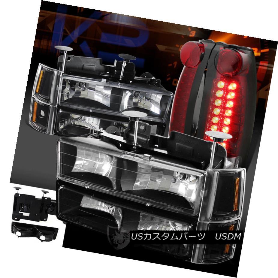 ヘッドライト 94-98 GMC Suburban Black Headlights Bumper Corner Lights+Red LED Tail Lamps 94-98 GMCサバーバンブラックヘッドライトバンパーコーナーライト+レッドLEDテールランプ