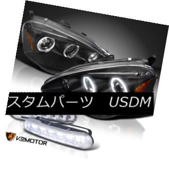 ヘッドライト 2002-2004 Acura RSX Halo Projector Headlights Black w/ LED DRL Fog Lamps 2002-2004 Acura RSX HaloプロジェクターヘッドライトブラックLED DRLフォグランプ