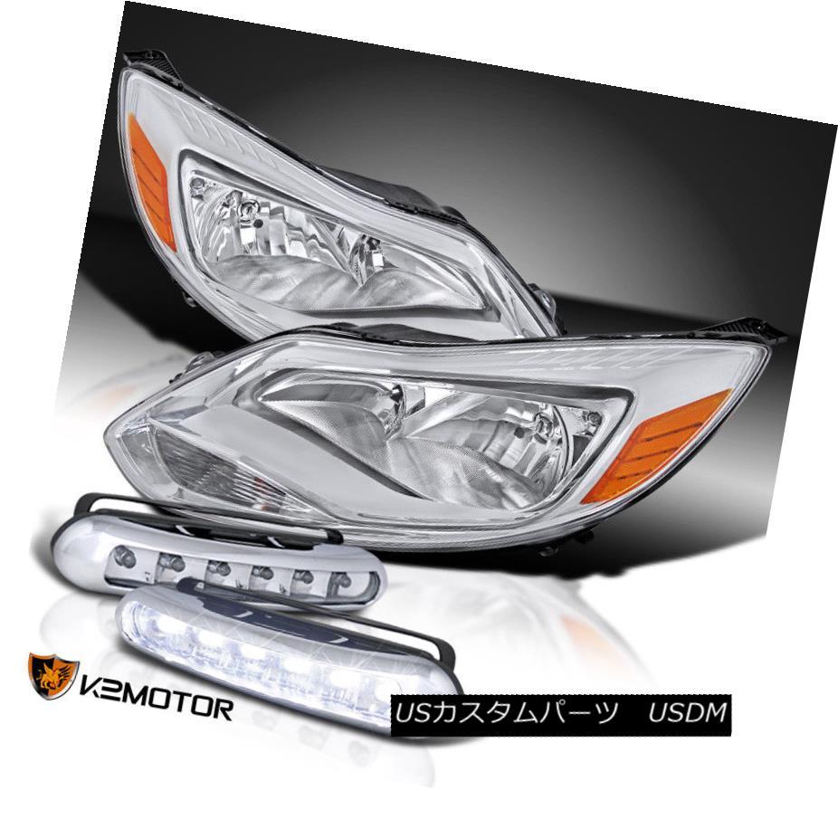 ヘッドライト 12-14 Ford Focus S SE Titanium Euro Chrome Clear Amber Headlights+LED DRL Fog 12-14フォードフォーカスS SEチタンユーロクロームクリアアンバーヘッドライト+ LED DRLフォグ